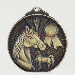 Embossed Equestrian Medal 52mm Gold