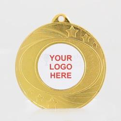 Elliptical Personalised Medal 50mm - Shiny Gold
