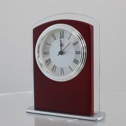 Glass and Rosewood Clock - 165mm