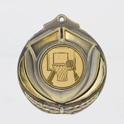 Two Tone Basketball Medal 50mm Gold
