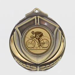Two Tone Cycling Medal 50mm Gold