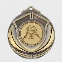 Two Tone Karate Medal 50mm Gold