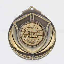 Two Tone Music Medal 50mm Gold