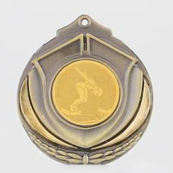 Two Tone Medal Female Swimmer 50mm Gold