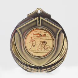 Two Tone Triathlon Medal 50mm Gold