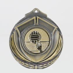 Two Tone Volleyball Medal 50mm Gold