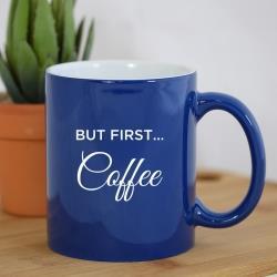 ENGRAVED COFFEE MUG BLUE
