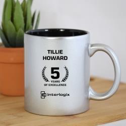 ENGRAVED COFFEE MUG SILVER
