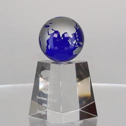 Blue Globe on Base 130mm