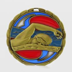 Stained Glass Swimming Medal 65mm Gold