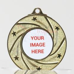 Shiny Galaxy Personalised Medal 50mm Gold