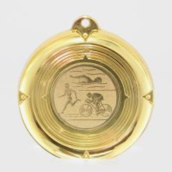 Deluxe Triathlon Medal 50mm Gold