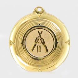 Deluxe Cricket Medal 50mm Gold