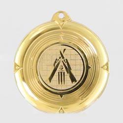 Deluxe Indoor Cricket Medal 50mm Gold