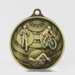 Global Triathlon Medal 50mm Gold