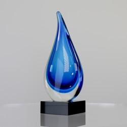 Art Glass Blue Cloudburst 255mm